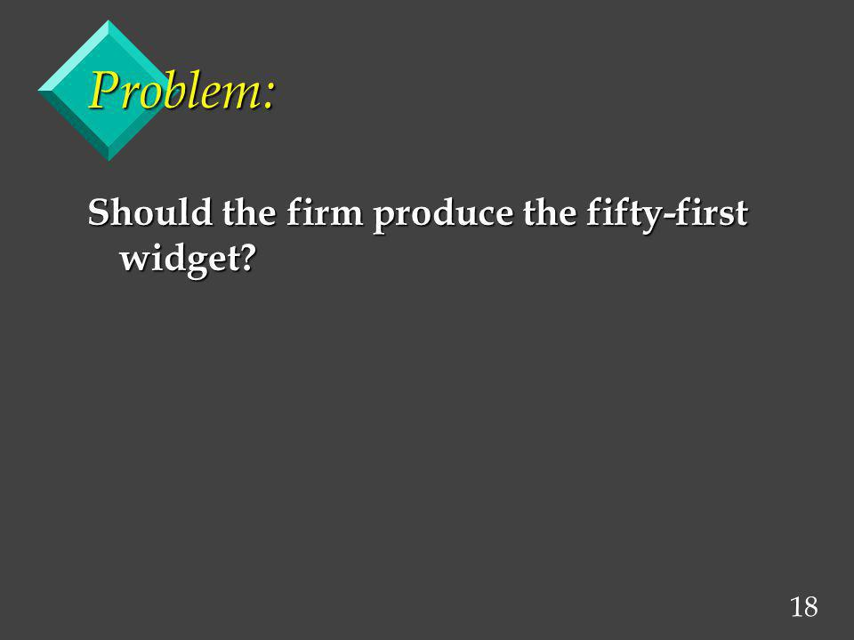 Problem: Should the firm produce the fifty-first widget
