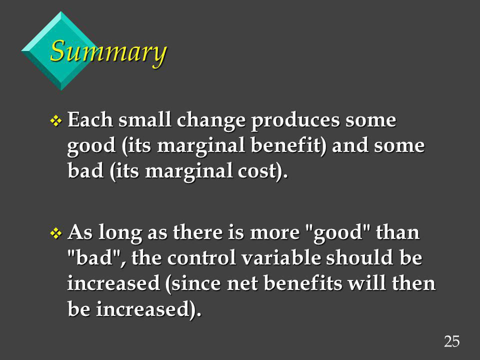 Summary Each small change produces some good (its marginal benefit) and some bad (its marginal cost).
