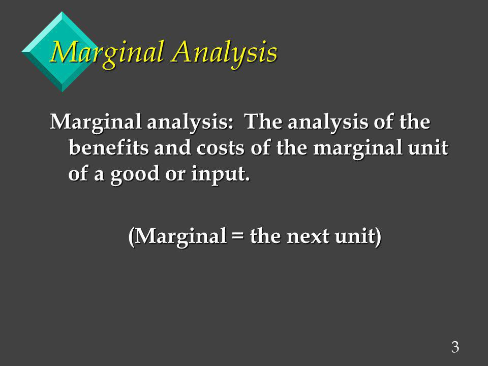 (Marginal = the next unit)