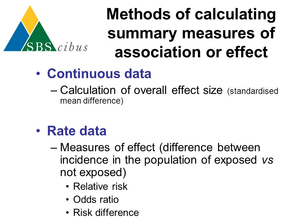 Methods of calculating summary measures of association or effect