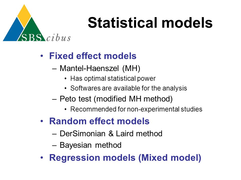 Statistical models Fixed effect models Random effect models