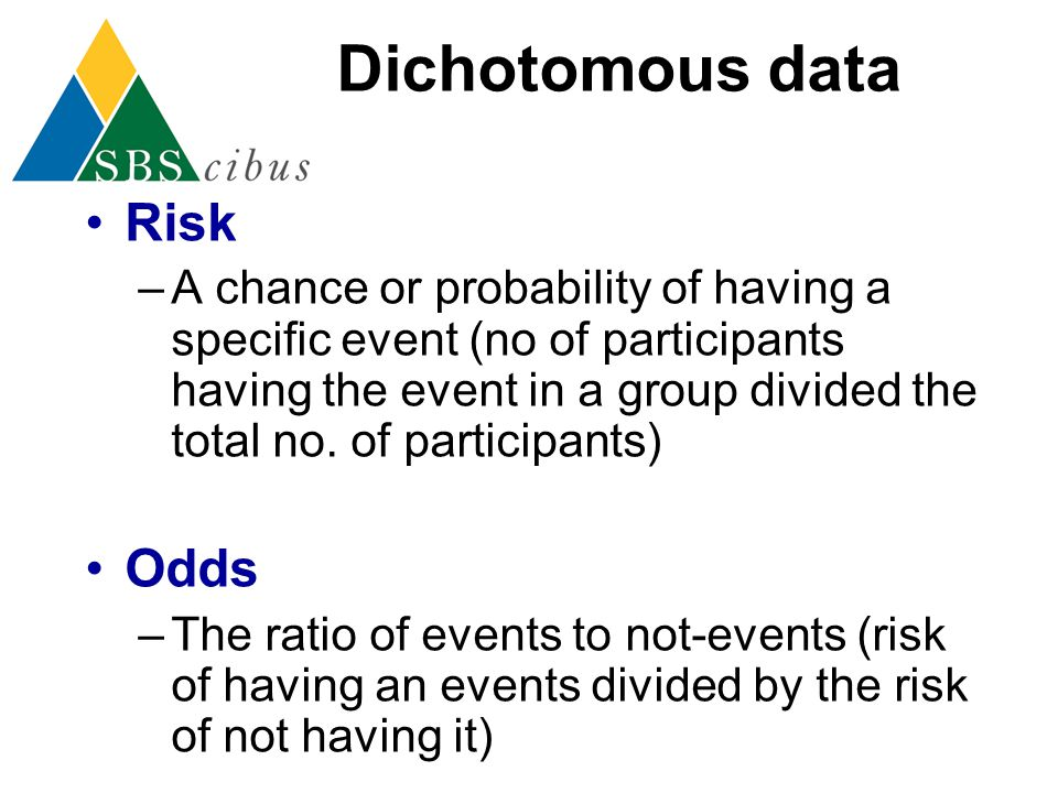 Dichotomous data Risk Odds