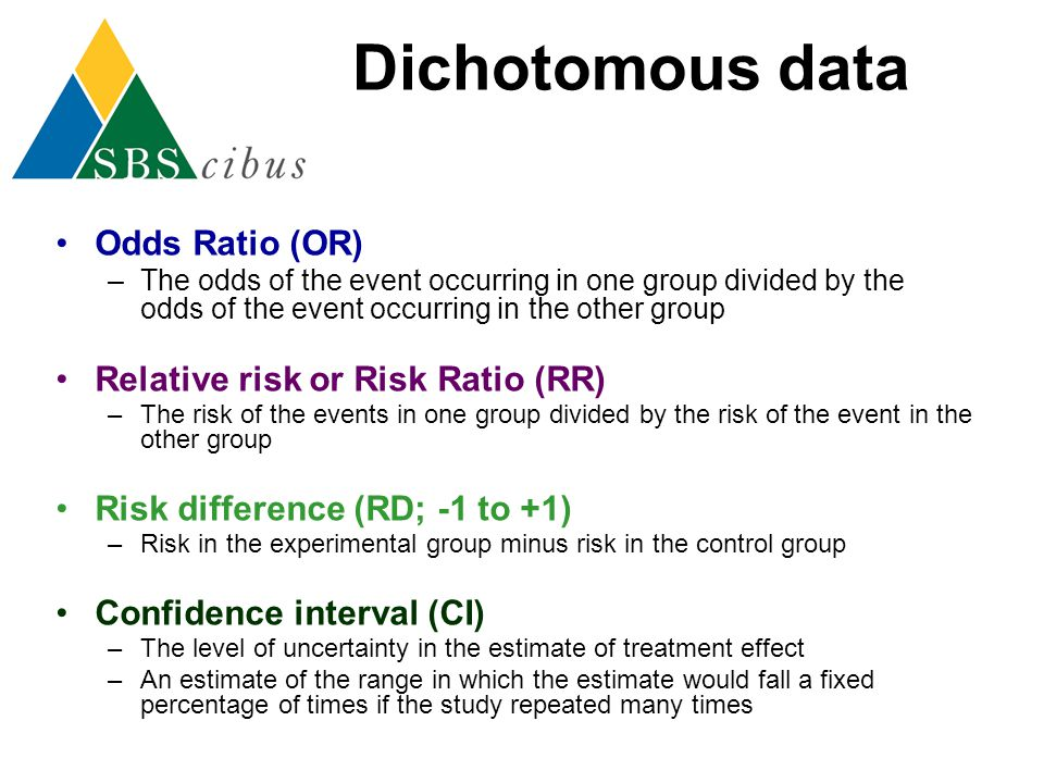 Dichotomous data Odds Ratio (OR) Relative risk or Risk Ratio (RR)