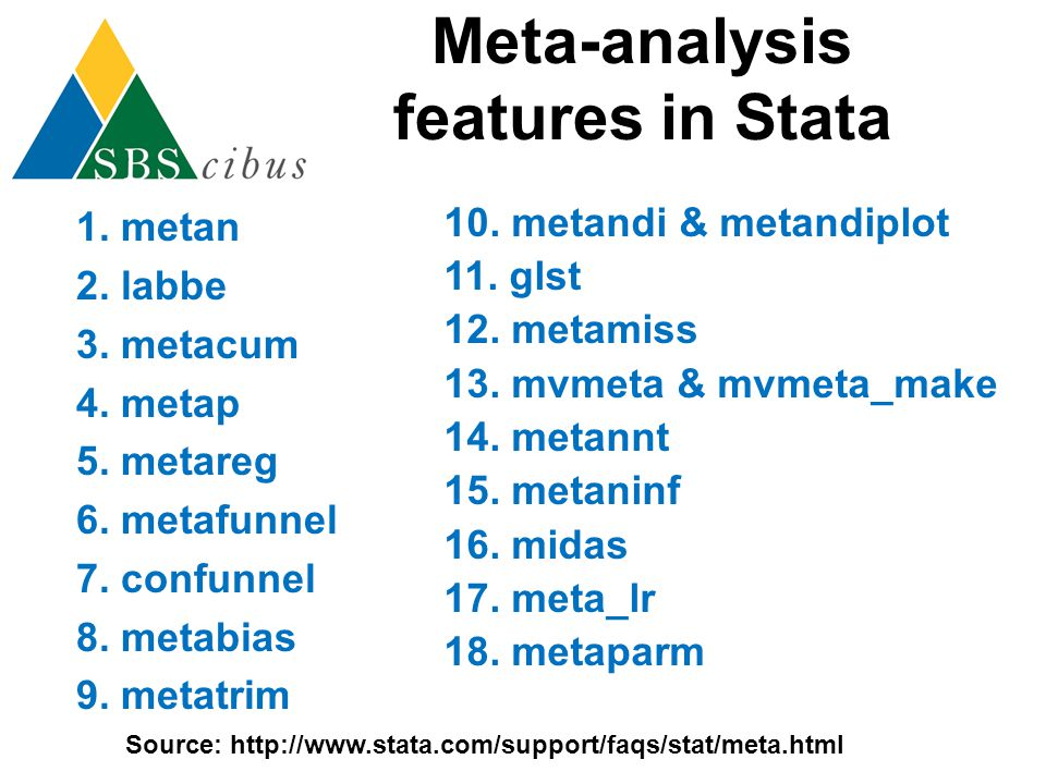 Meta-analysis features in Stata