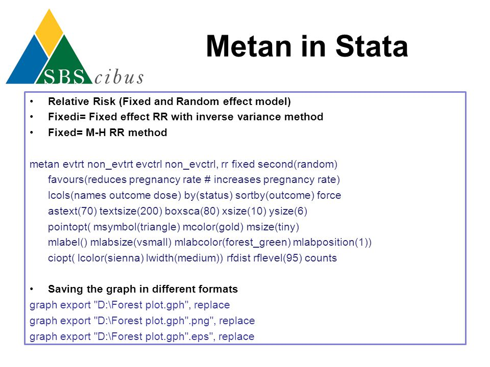 Metan in Stata Relative Risk (Fixed and Random effect model)