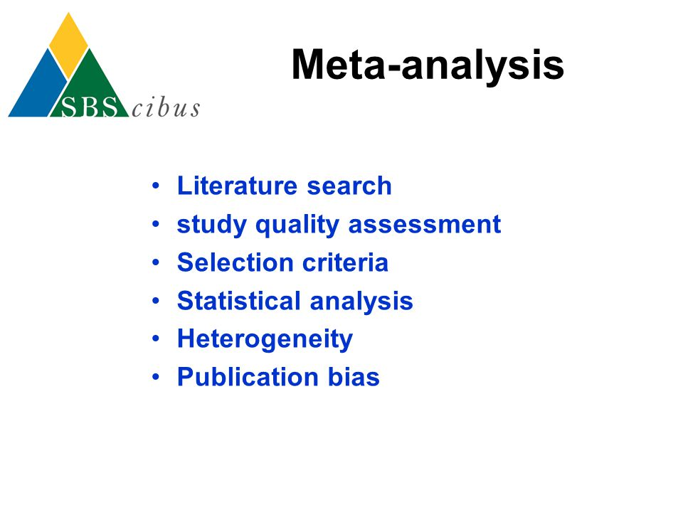 Meta-analysis Literature search study quality assessment