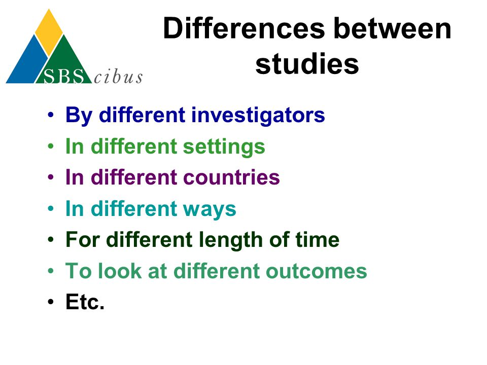 Differences between studies