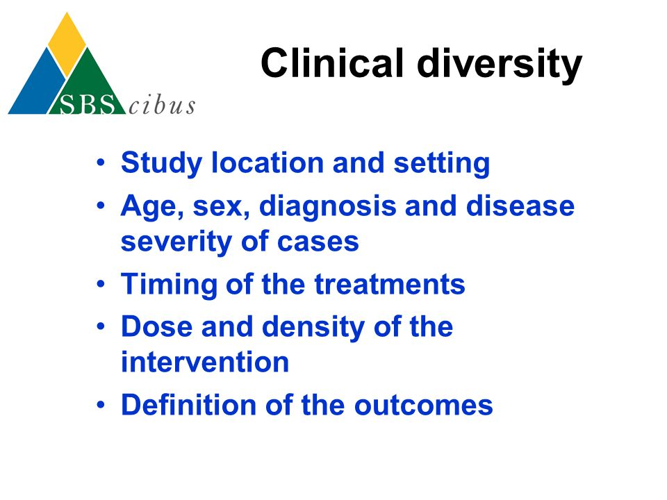 Clinical diversity Study location and setting