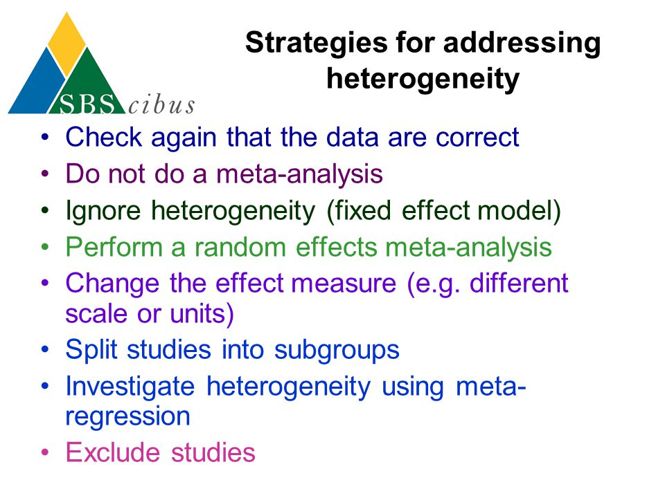 Strategies for addressing heterogeneity