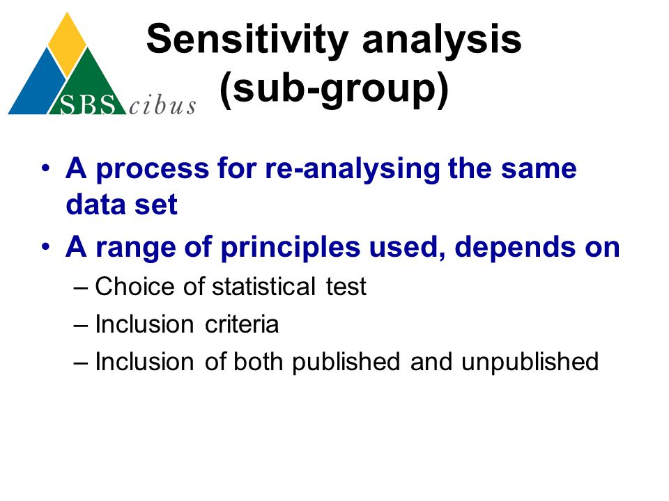 Sensitivity analysis (sub-group)
