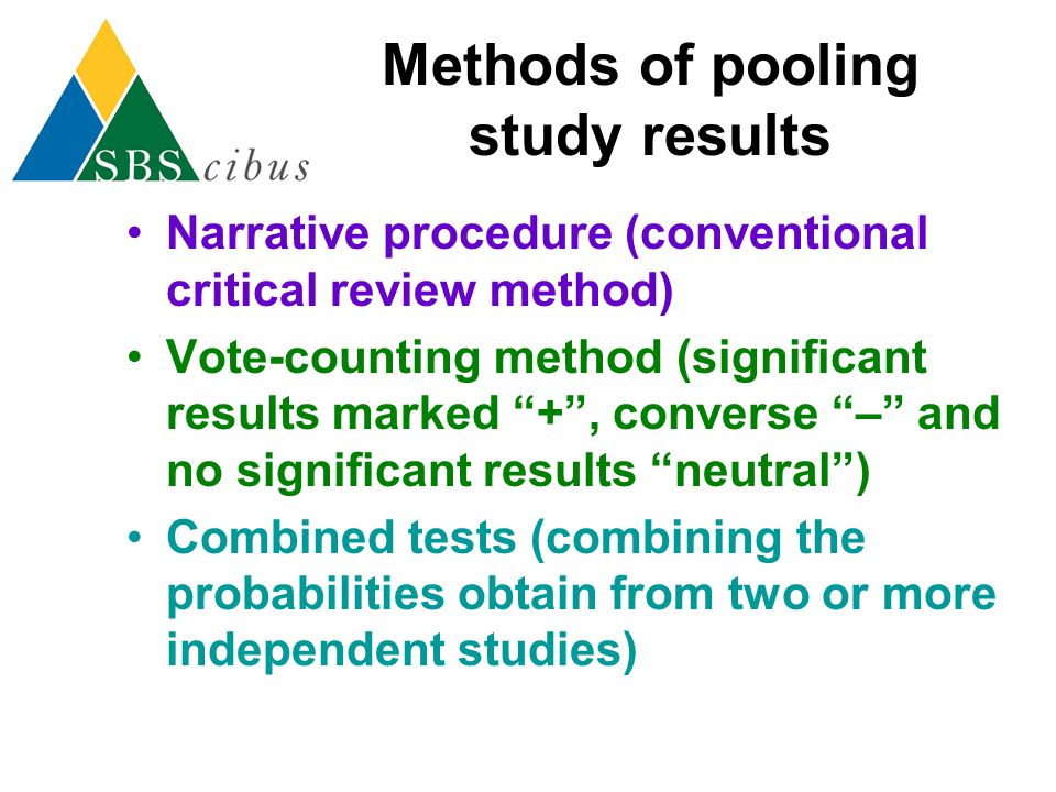 Methods of pooling study results