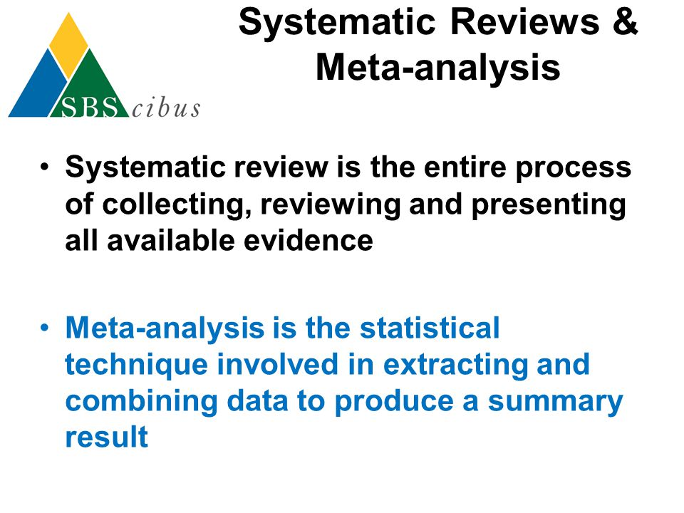 Systematic Reviews & Meta-analysis