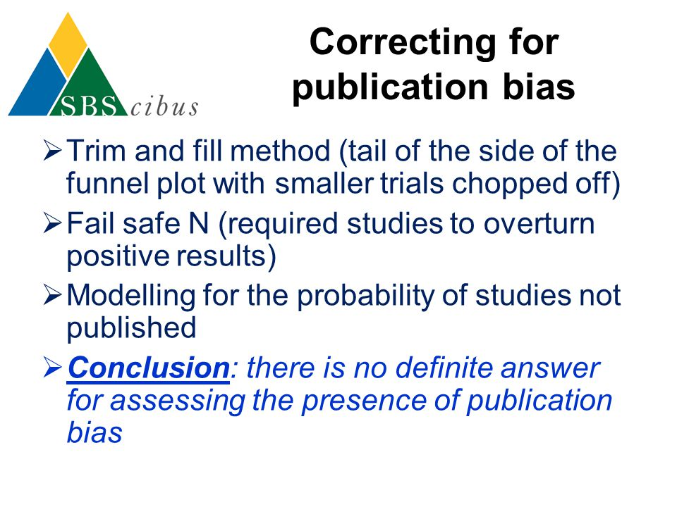 Correcting for publication bias