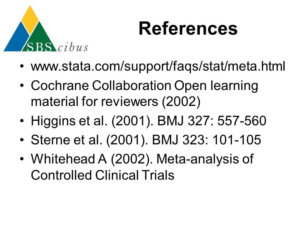 References www.stata.com/support/faqs/stat/meta.html