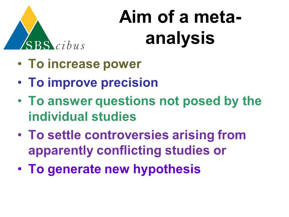 Aim of a meta-analysis To increase power To improve precision