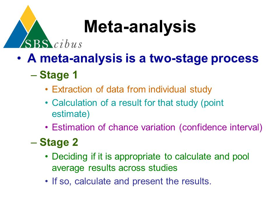 Meta-analysis A meta-analysis is a two-stage process Stage 1 Stage 2