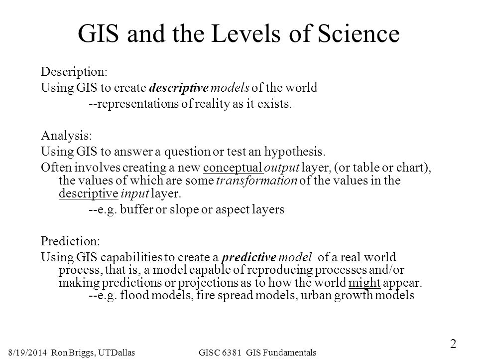 GIS and the Levels of Science