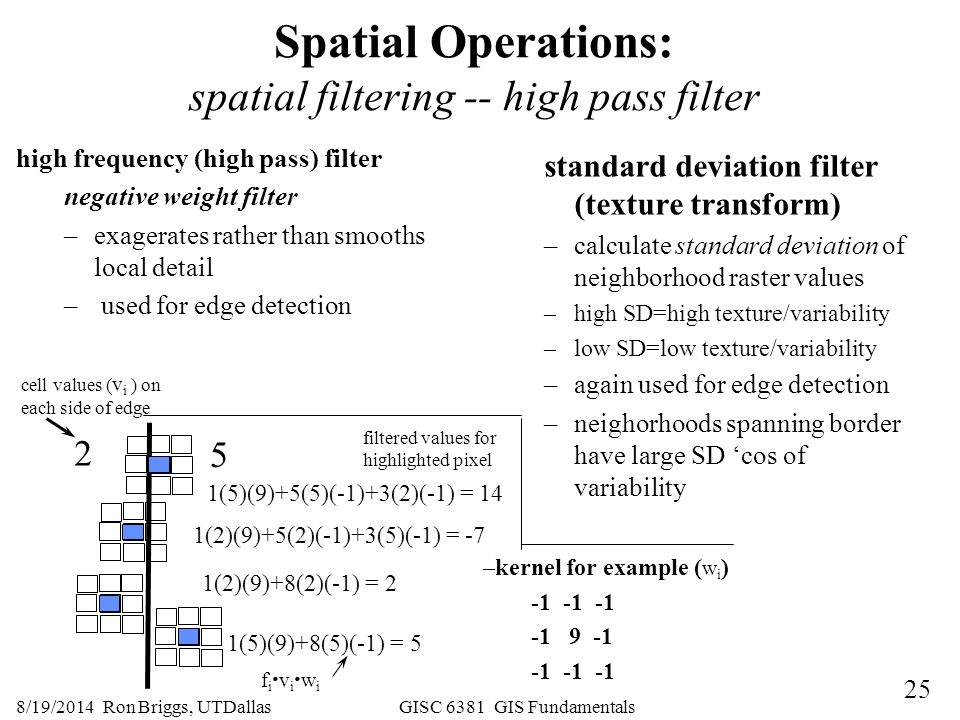 Spatial Operations: spatial filtering -- high pass filter