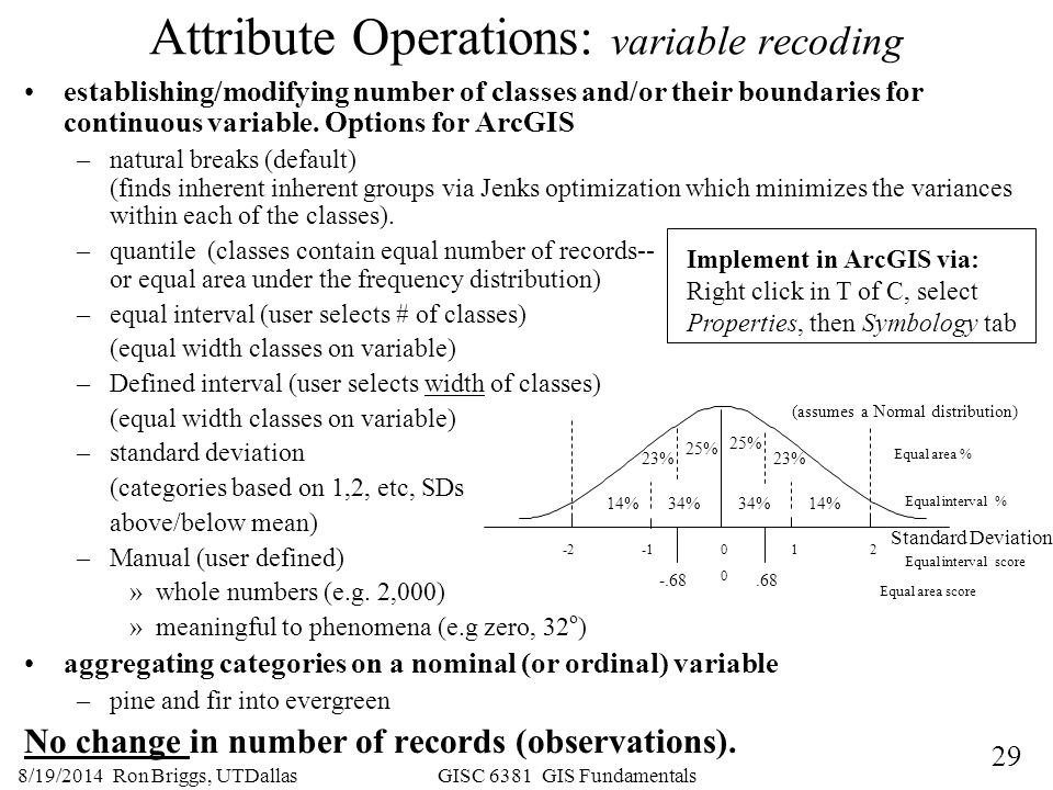 Attribute Operations: variable recoding
