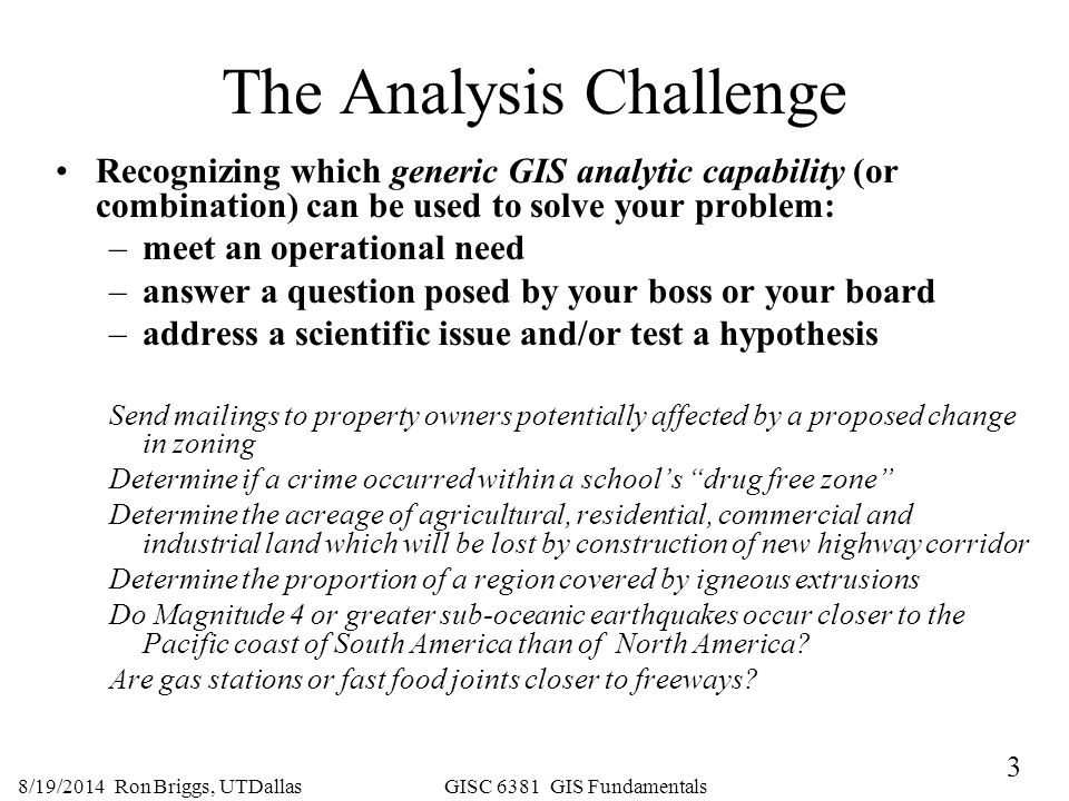 The Analysis Challenge