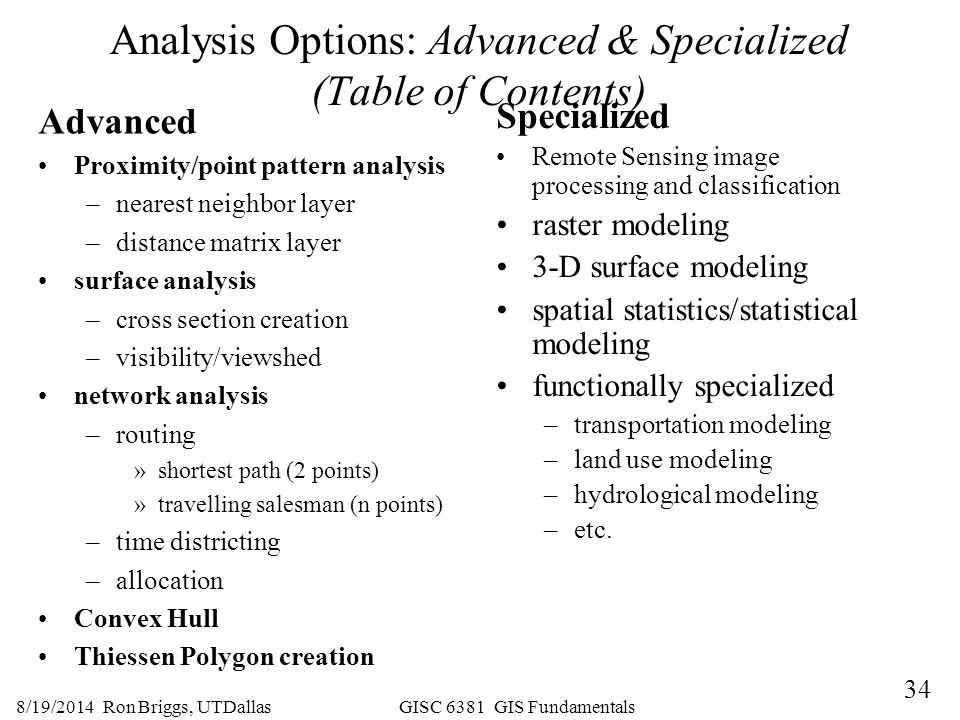 Analysis Options: Advanced & Specialized (Table of Contents)