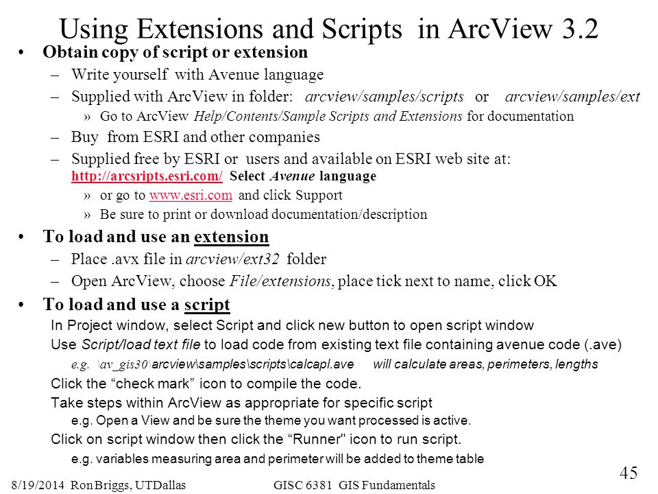 Using Extensions and Scripts in ArcView 3.2