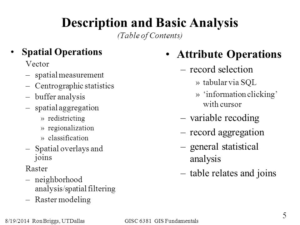 Description and Basic Analysis (Table of Contents)