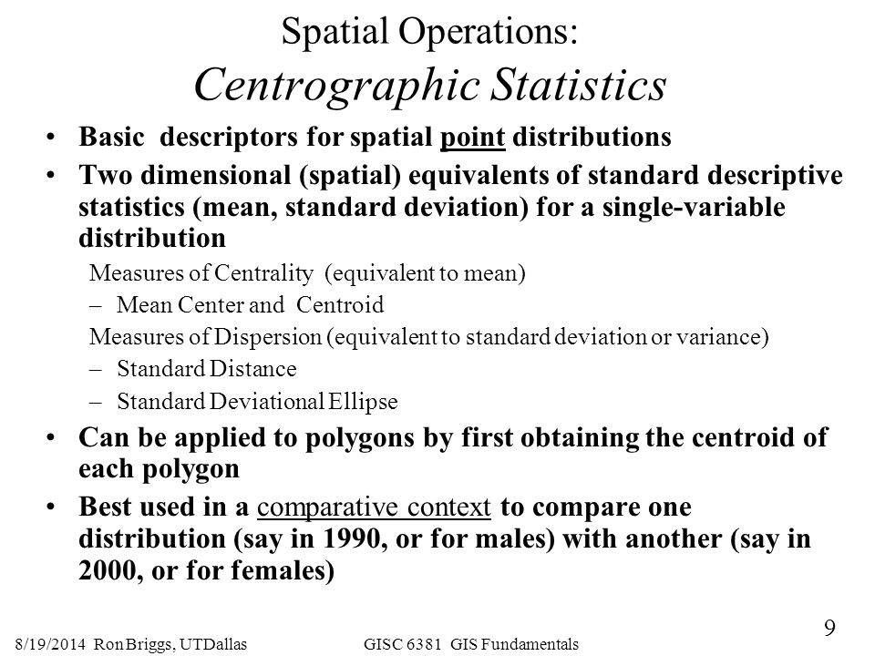 Spatial Operations: Centrographic Statistics