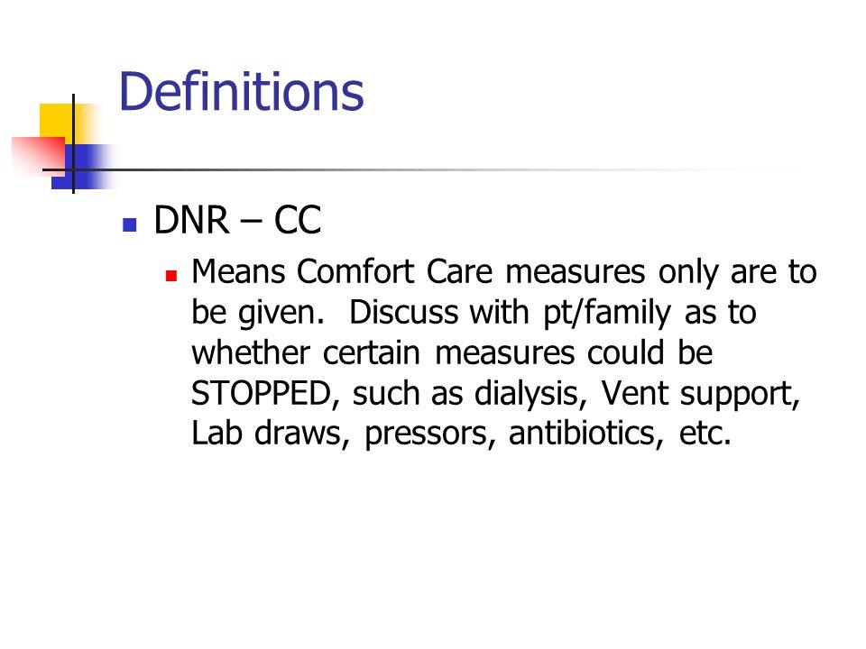 Definitions DNR – CC.