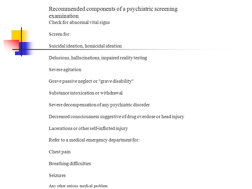 Recommended components of a psychiatric screening examination
