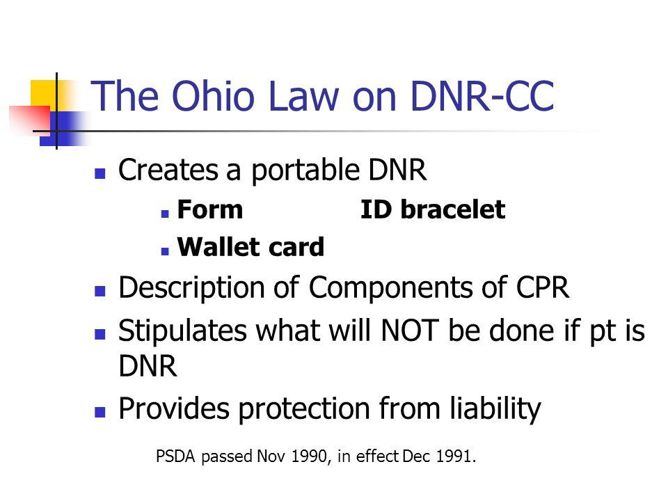 The Ohio Law on DNR-CC Creates a portable DNR