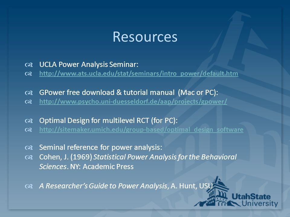 Resources UCLA Power Analysis Seminar: