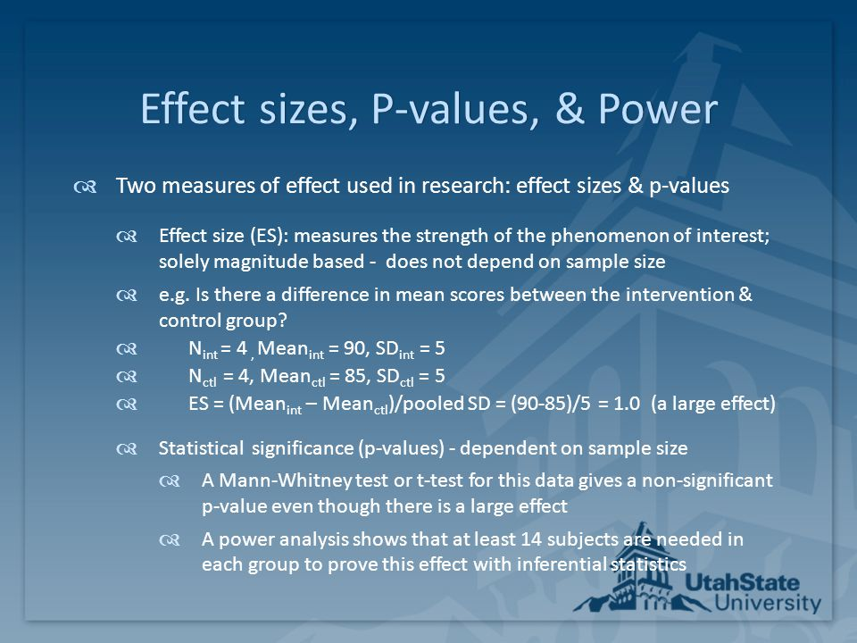 Effect sizes, P-values, & Power