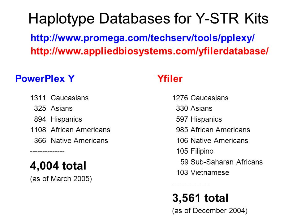 Haplotype Databases for Y-STR Kits