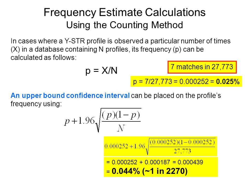 Frequency Estimate Calculations Using the Counting Method