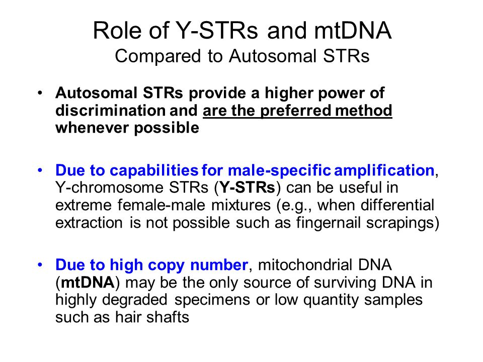 Role of Y-STRs and mtDNA Compared to Autosomal STRs