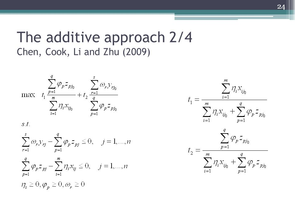 The additive approach 2/4 Chen, Cook, Li and Zhu (2009)
