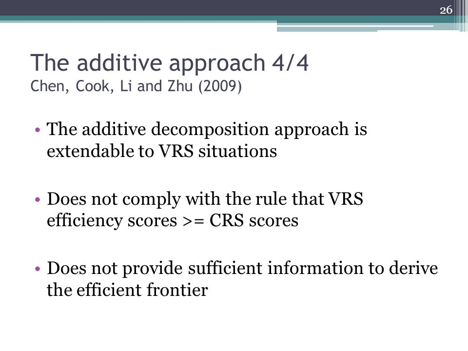 The additive approach 4/4 Chen, Cook, Li and Zhu (2009)