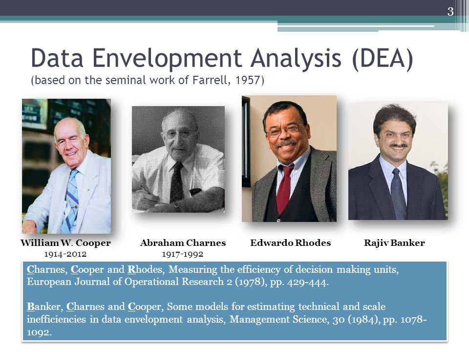Data Envelopment Analysis (DEA) (based on the seminal work of Farrell, 1957)