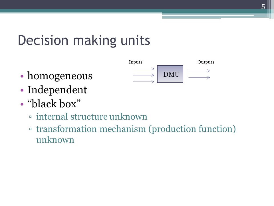 Decision making units homogeneous Independent black box