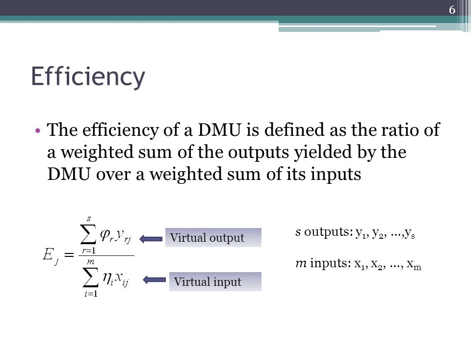 Efficiency The efficiency of a DMU is defined as the ratio of a weighted sum of the outputs yielded by the DMU over a weighted sum of its inputs.