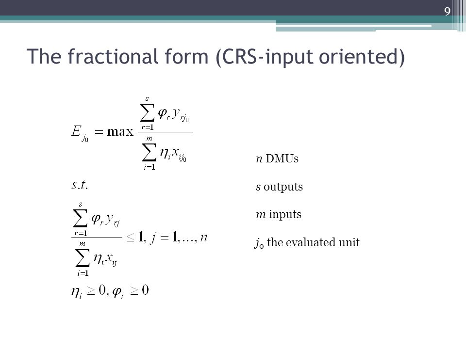 The fractional form (CRS-input oriented)