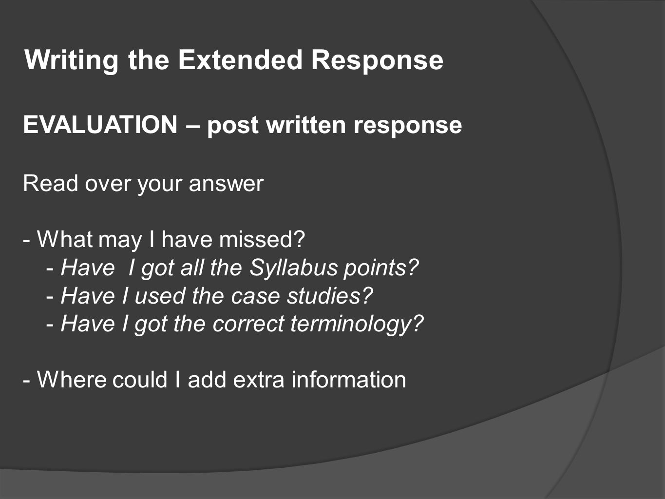 Writing the Extended Response