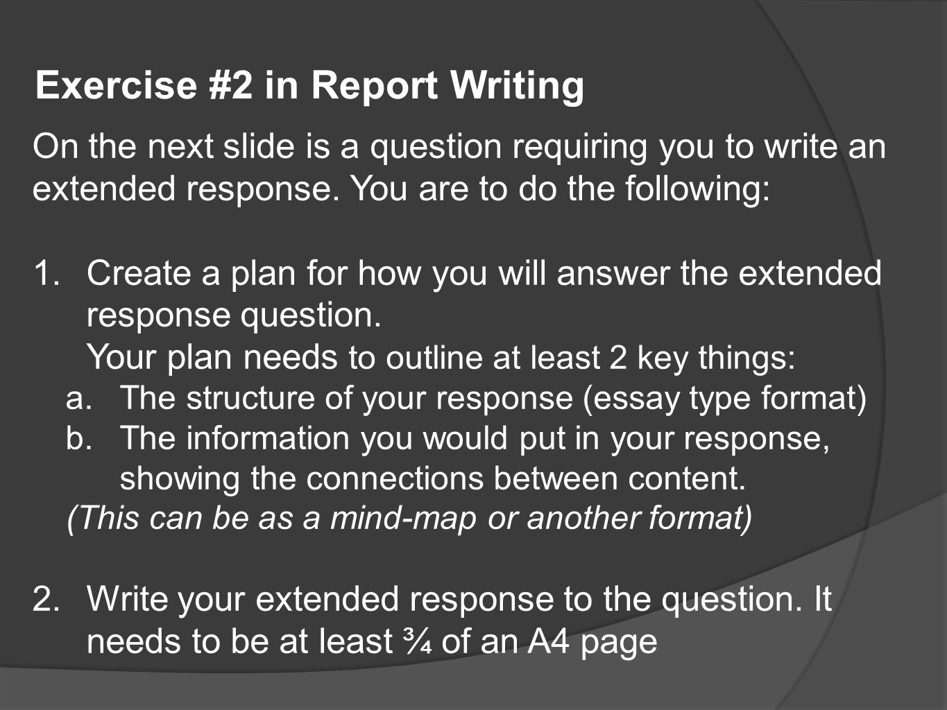 Exercise #2 in Report Writing