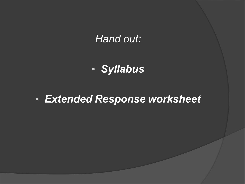 Extended Response worksheet