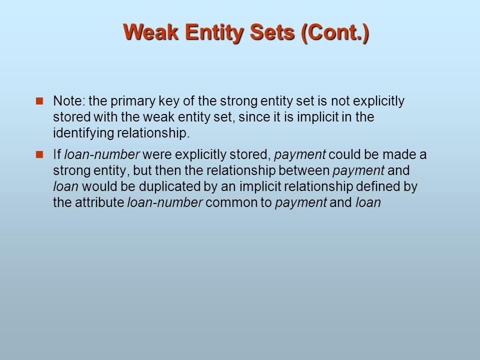 Weak Entity Sets (Cont.)