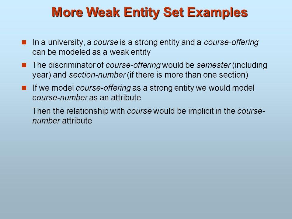 More Weak Entity Set Examples
