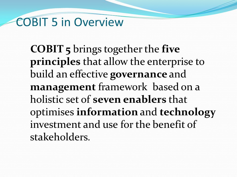 COBIT 5 in Overview