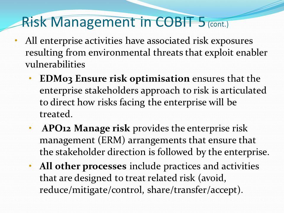 Risk Management in COBIT 5 (cont.)