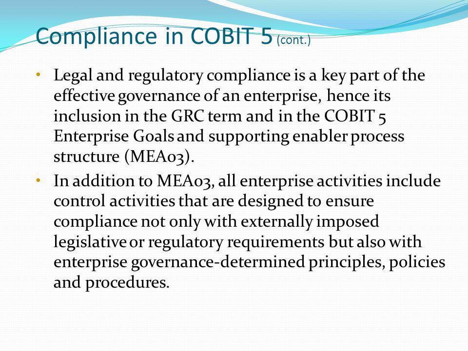 Compliance in COBIT 5 (cont.)